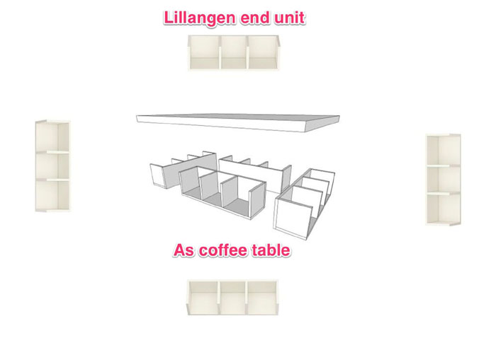 Lillangen End Unit As Coffee Table With Storage Ikea Hackers