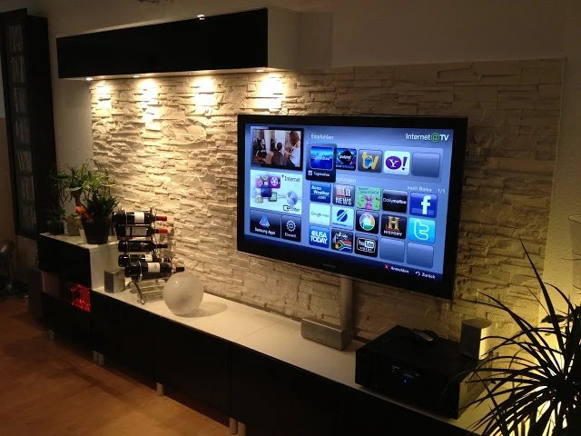 BESTÅ TV unit IKEA Hackwith stone wall panel