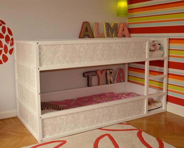Materials: Kura Bed, Sultan Lade, 2×2u2033 Beams, Mdf, Paint, Wallpaper,  Screws, Screwdriver, Saw