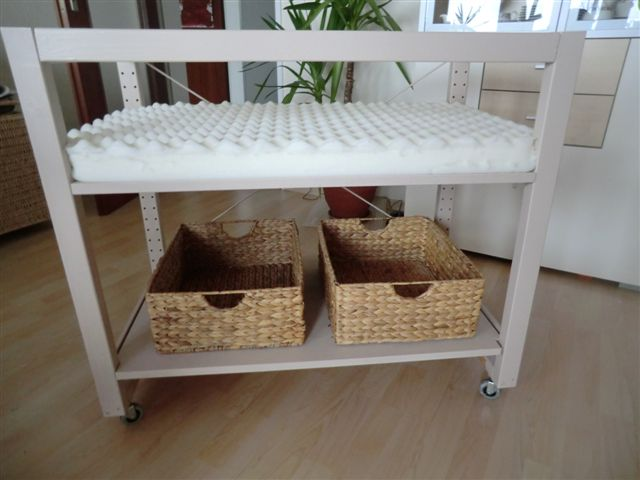 Fabulous  The cot has wheels So the baby is always near you The mattress is adjustable in height The mattress is x cm The baby can lie long in bed