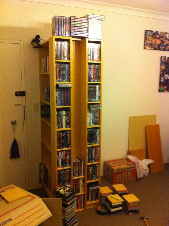 Materials: 2 Billy Bookcase, 2 Benno CD Towers, Power Drill, Screws