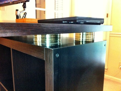 Another Expedit Standing Desk with CDs as risers IKEA