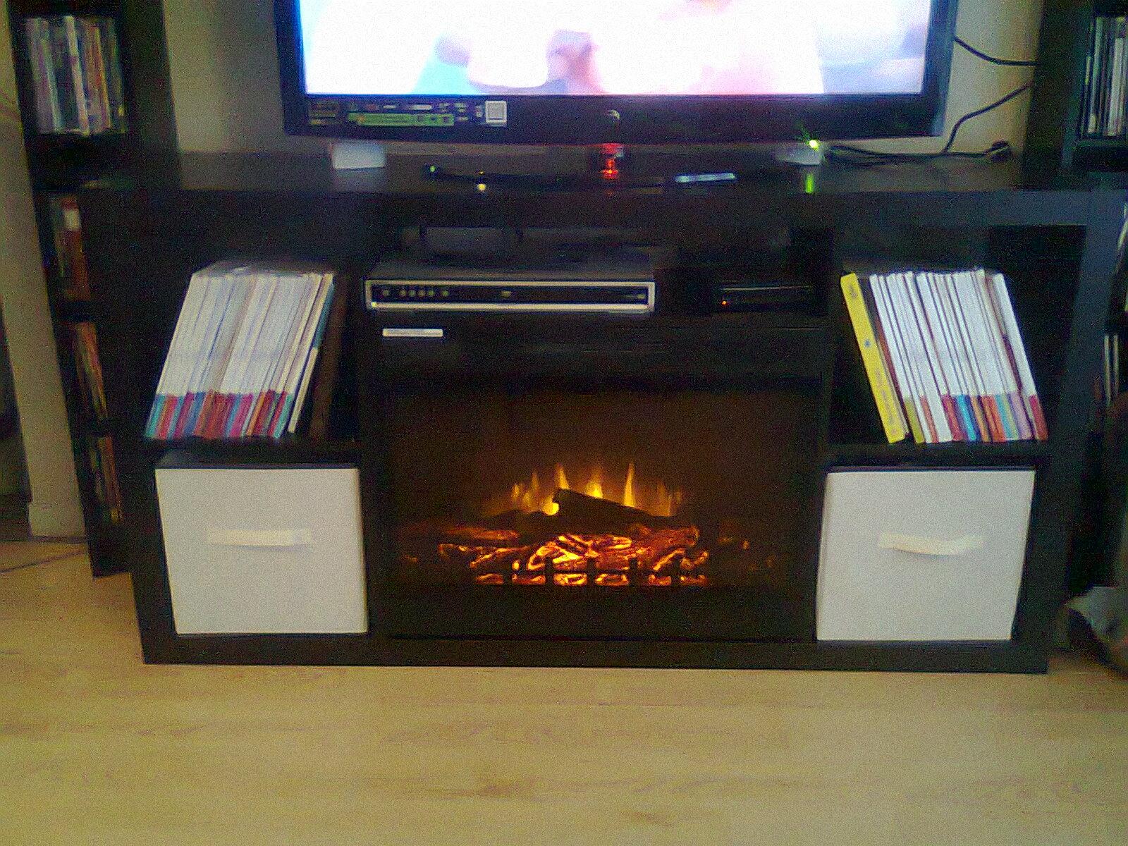 Ikea expedit 4x2 turned fireplace media console ikea hackers - Mobile stereo ikea ...