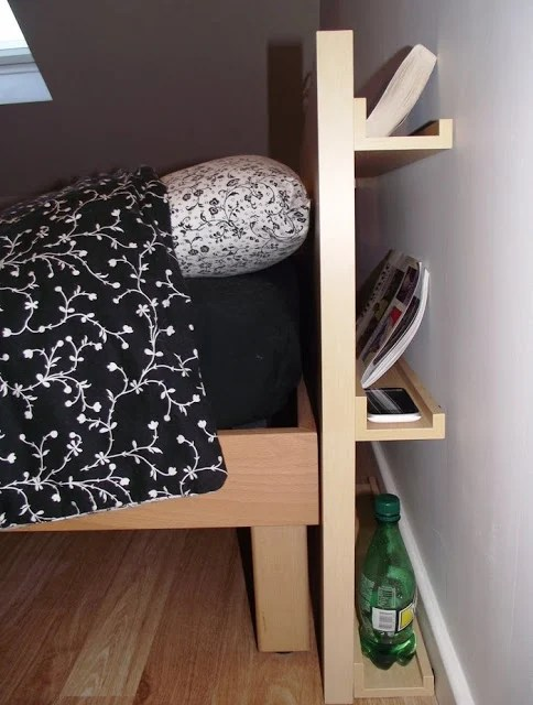 slim headboard with storage