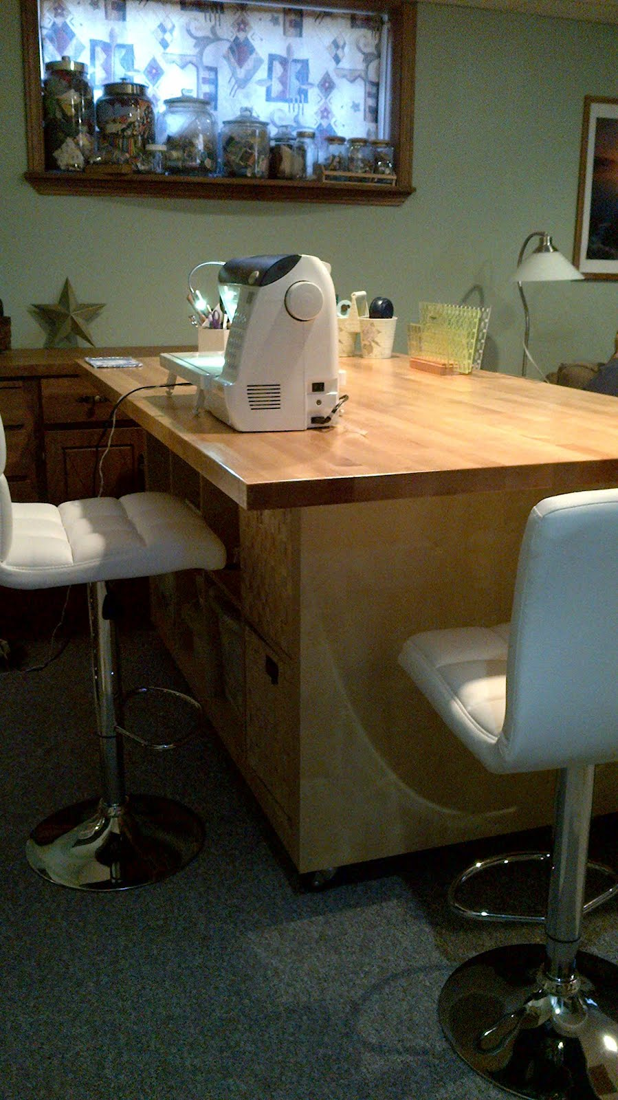 Delicieux The Ultimate Quilting Table. Materials: 2 Ikea Expedit Bookcases, 1 Ikea  Numerar Countertop, 4 Heavy Duty Casters And 2 2x4s