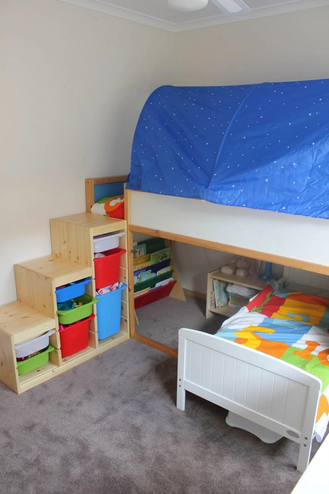 We Bought A Trofast Storage Unit As A Replacement For The Stairs. It Worked  Great! They Could Both Climb Up And Down Into The Bed But To Make It Safer  We ...