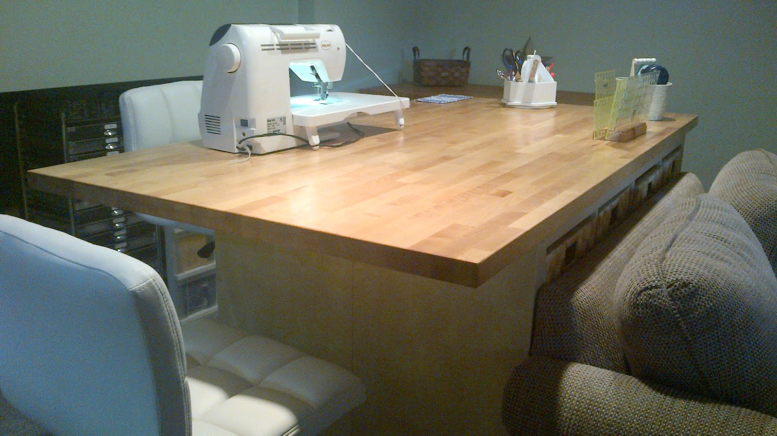 Incroyable The Ultimate Quilting Table. We Then Put It Up On Casters (not Those For  Sale At IKEA, In My Opinion It Was A Broken Toe Waiting To Happen!)