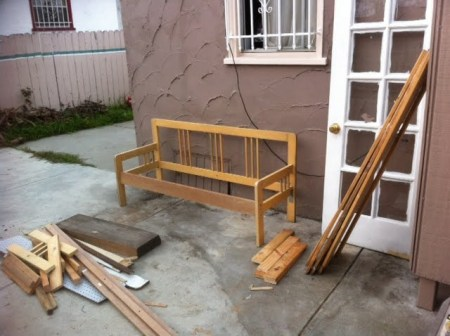 Ikea full bedframe into garden bench IKEA Hackers