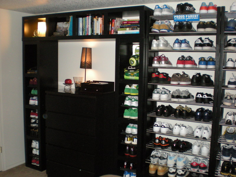 Lack wall of shoe shelves and storage ikea hackers for Sneaker wall display