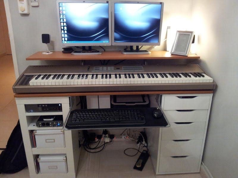 integrated computer music work desk ikea hackers. Black Bedroom Furniture Sets. Home Design Ideas
