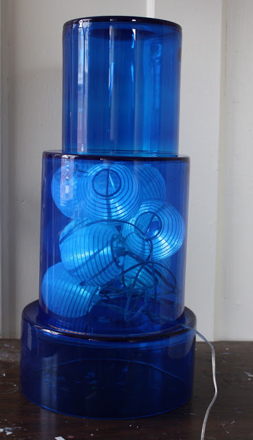 Blue pyramid solar light