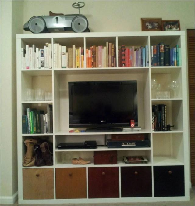 Materials: Expedit TV Storage Unit and 5 Lekman Boxes