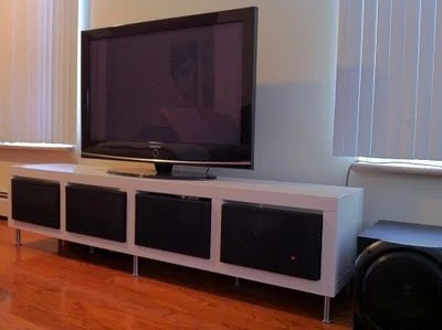 modern tv stand from kallax frosta ikea hackers. Black Bedroom Furniture Sets. Home Design Ideas