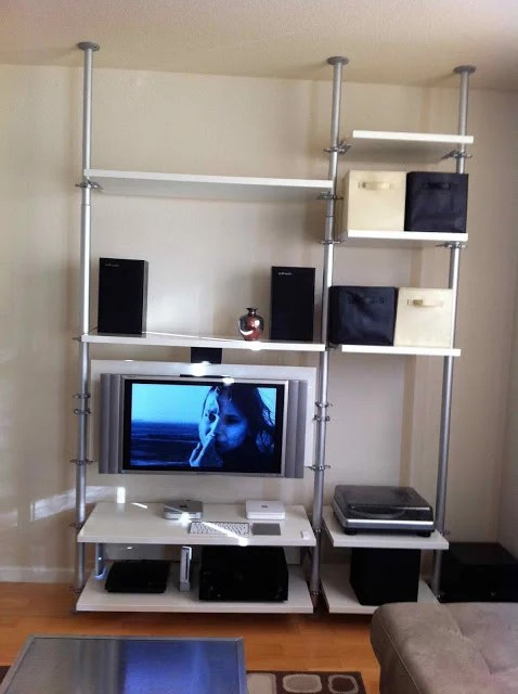 Flat TV stand with storage for DVD