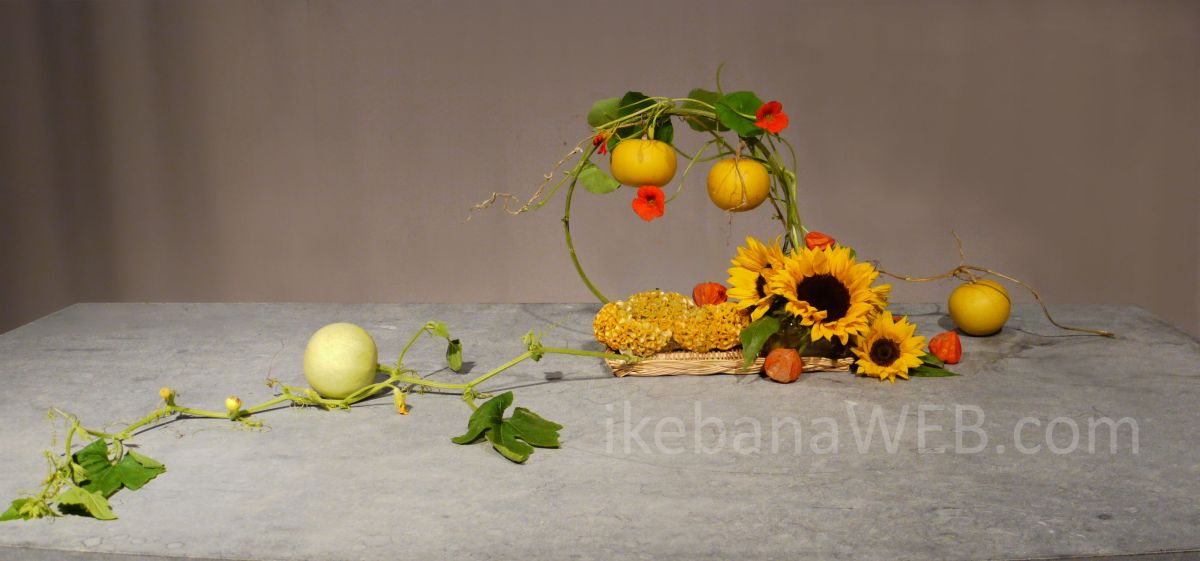 Morimono - use of fruits and vegetables in Japanese flower arrangements