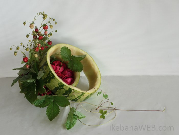 Sogetsu ikebena by Ekaterina Seehaus morimono arrangement with watermelon and wind strawberries