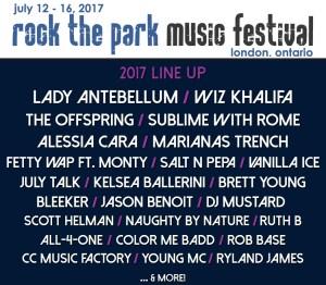 Rock The Park 2017 LineUp