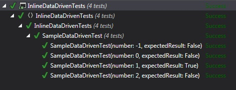 Inline Data Driven Tests Sample