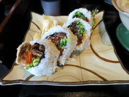 Soft shell crab maki rolls at Nagisa