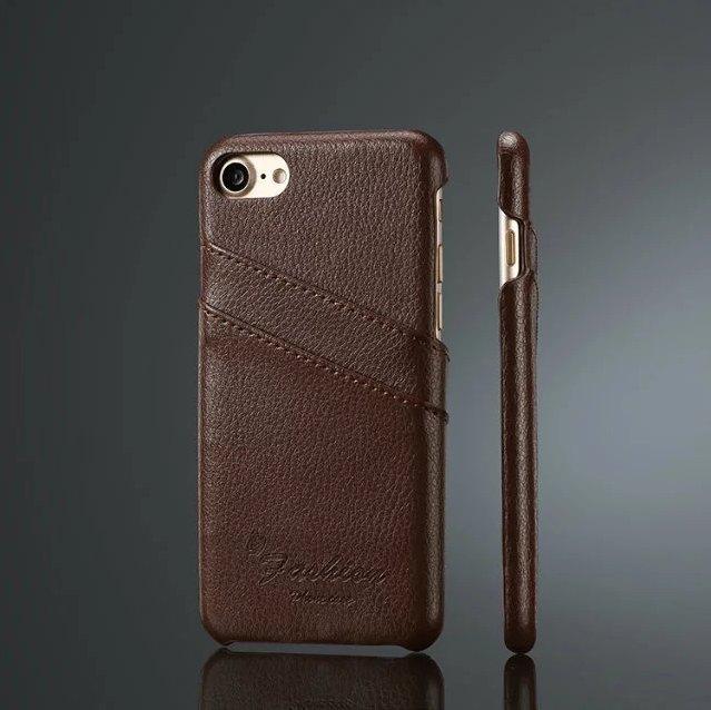 iPhone 7-8 kreditkortholder af brun læder