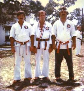 L-R: The now Hanshi Tom Bentley, the late Soke Richard Baillargeon, and the now Soke Joe Ruiz (early 80's). Photo from Hanshi Tola E. Lewis, Jr.