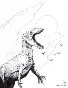 Allosaurus, in ink, by Josh Cotton