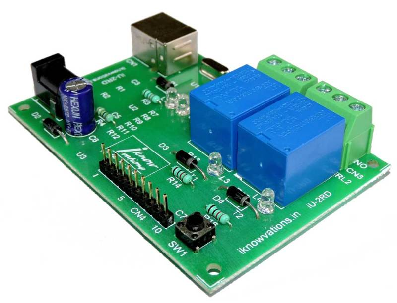 2-channel-usb-relay-board-iU 2RD-2 from iknowvations