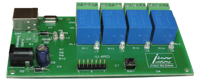 4 channel USB relay board- iU-4RD-1 from iknowvations.in