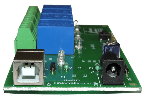 4 channel USB relay board- iU-4RD-3 from iknowvations.in