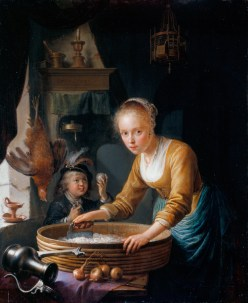 Gerrit Dou, Girl Chopping Onions, 1646, oil on panel, 20.8 x 16.9 cm, Royal Collection Trust, UK (https://www.google.com/culturalinstitute/asset-viewer/girl-chopping-onions/5wFfVx8b49KnFQ)