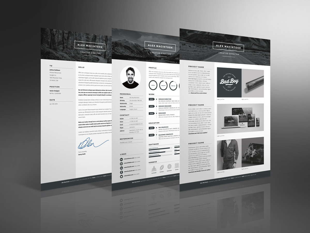 Page Templates Include Cover Letter, Resume And Portfolio.