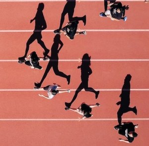 mobile sized image for aerial view of runners on track