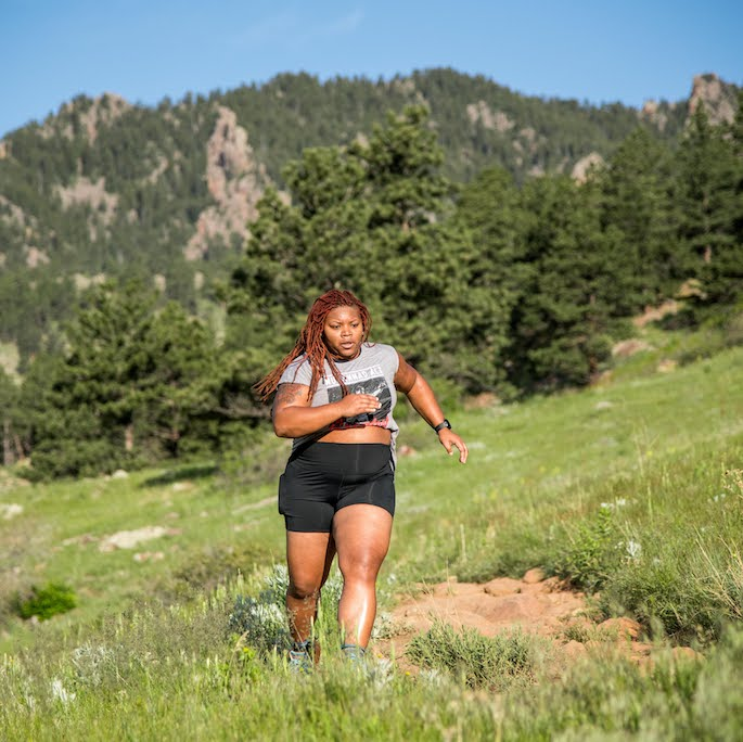 Latoya running in Boulder, Colorado