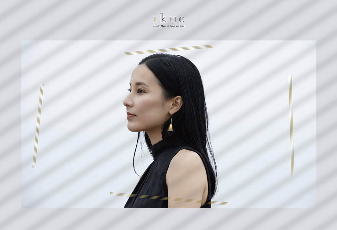 Ikue -Jewelry made of paper and gold-