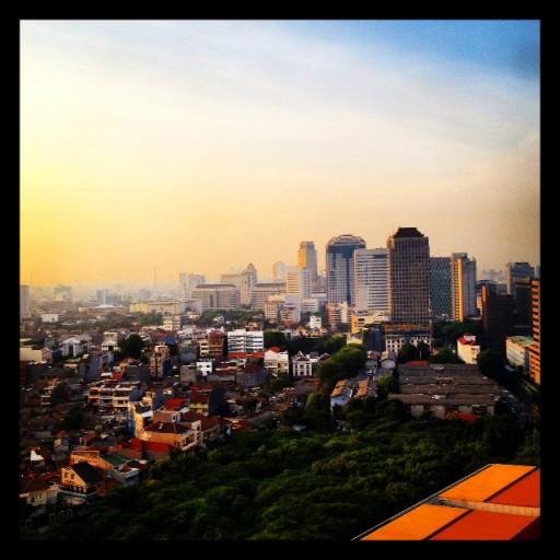 Jakarta vanuit mijn hotel