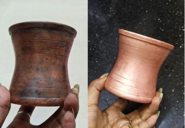 ניקוי כלי נחושת באמצעות תמרהינדי