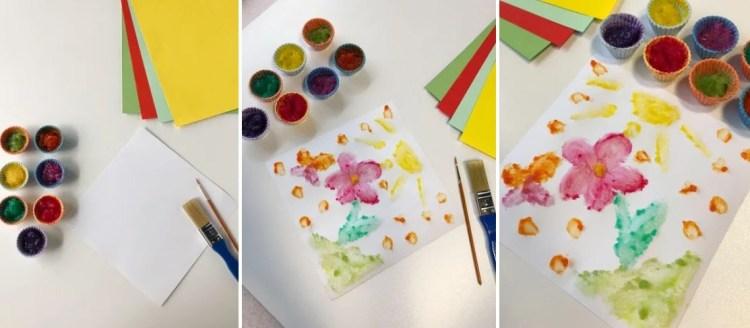 שלב רביעי בהכנת צבע אצבעות לילדים.