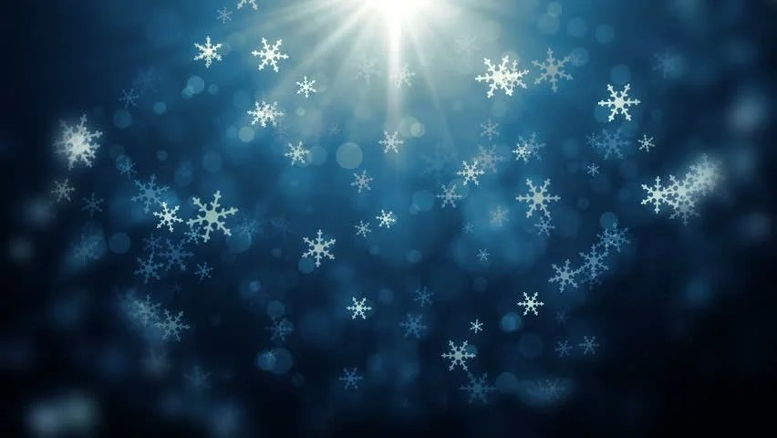 Moving Falling Snow Wallpaper Snowflakes Falling Against A Blue Frosty Background Stock