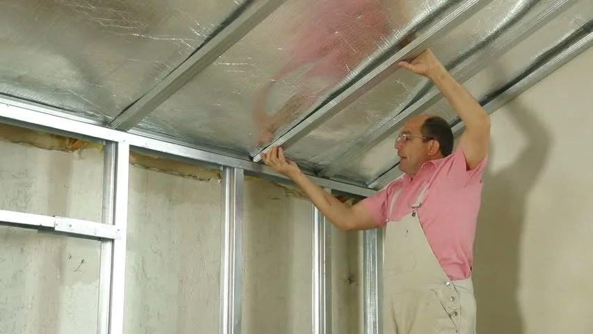 Installation Of Gypsum Plasterboard Ceilings Stock Footage Video 2384693 - Shutterstock
