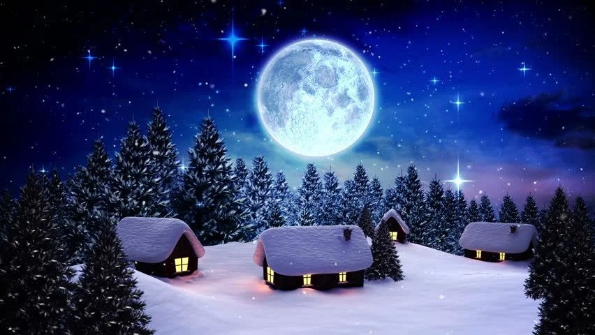 Snow Falling At Night Wallpaper Digital Animation Of Snow Falling On Cute Village In