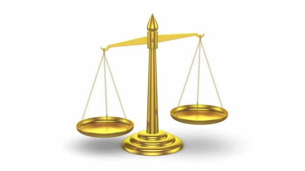3D Golden Scales Of Justice Moving Up And Down Looped