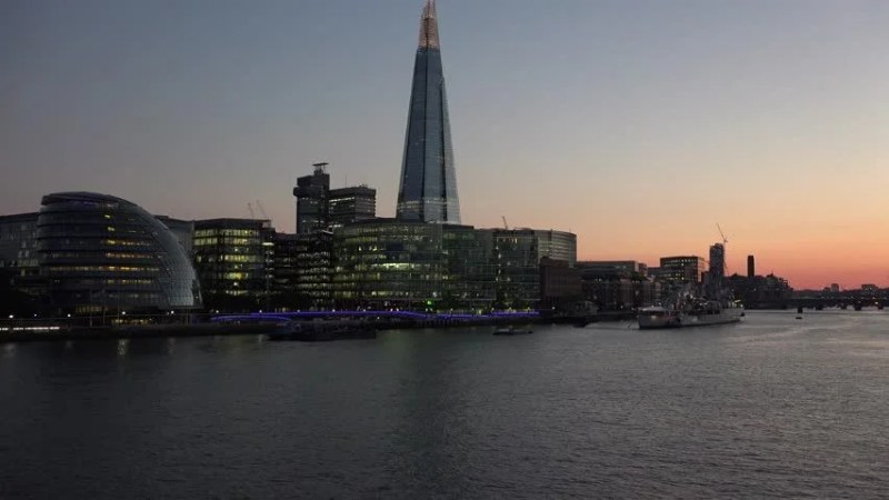 London May   London Skyline At Twilight On Thames River With Shard In