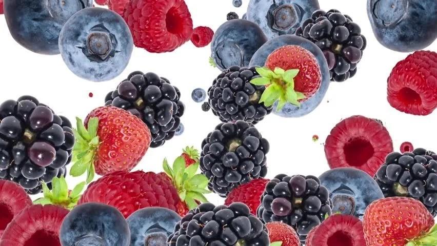 Bowl Raspberries And Blueberries Blackberries Stock
