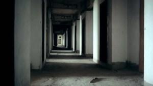 abandoned dark empty door inside apartment interior footage opening illuminating horror hallway background scene screen building shot broken 1080p 3d