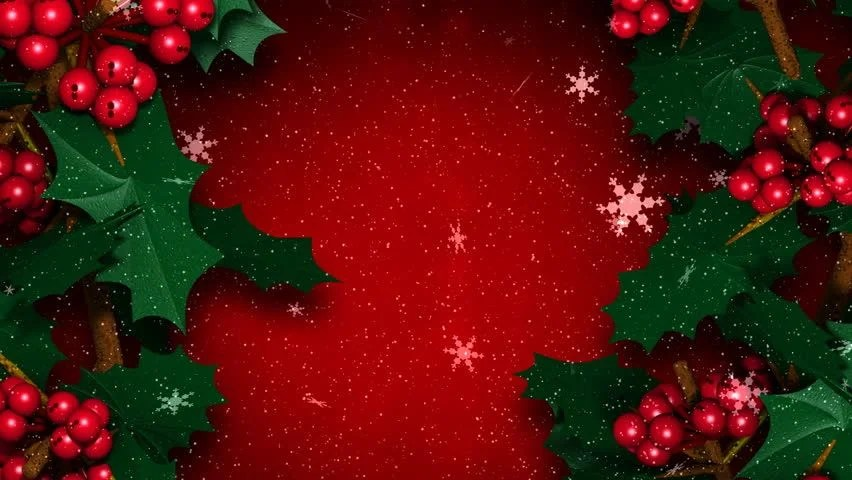 Live Snow Falling Wallpaper For Desktop Christmas Holly Ivy With Snow Flakes Falling Stock Footage