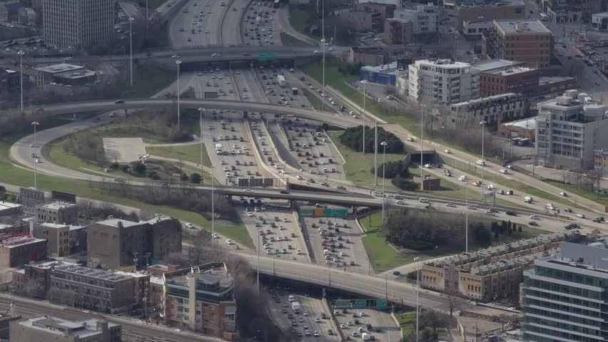 Kennedy Expressway Aerial View Of Downtown Chicago ...