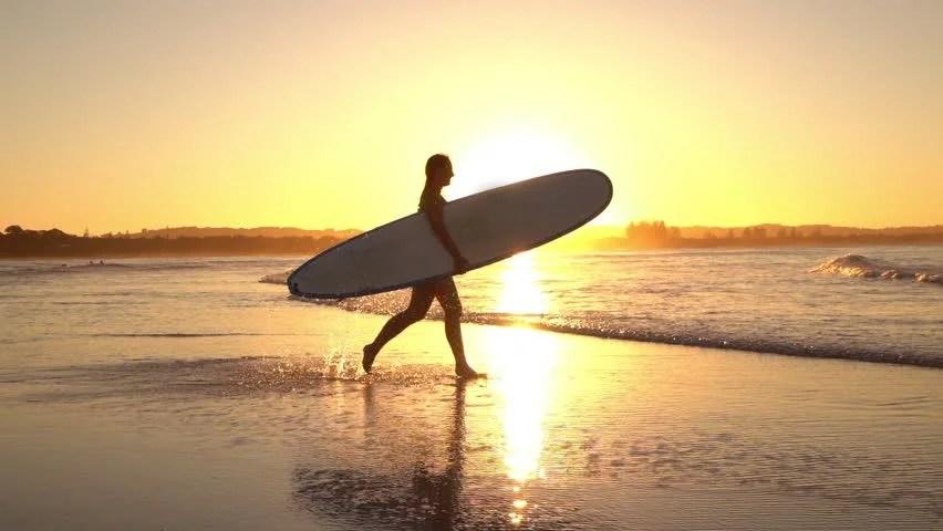 Surfer Girl Silhouette Sunset Wallpaper Surfing Woman Surfer Silhouette Walking With Surfboard At