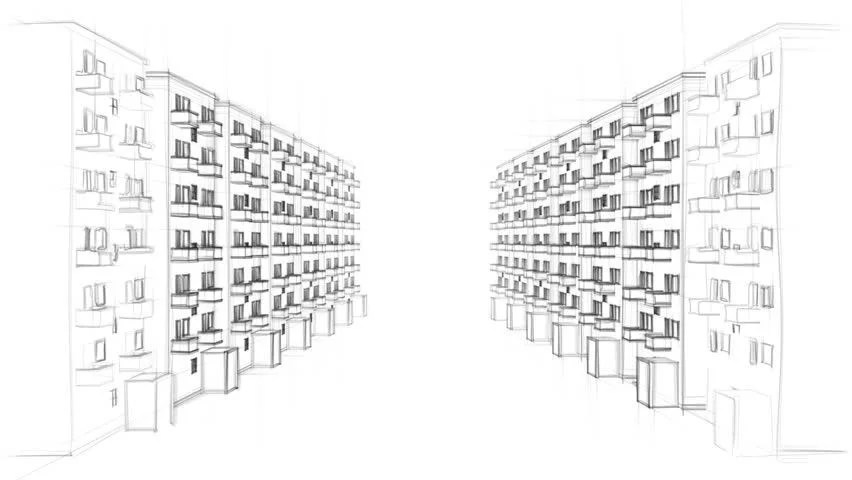 Animated Line Drawing Of A Residential Street With
