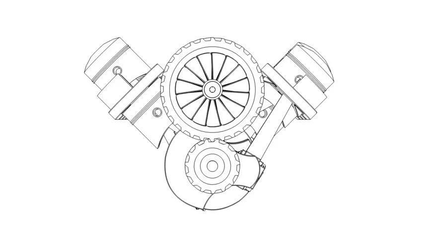 Cartoon Outline Of V8 Internal Combustion Engine V8 (3D
