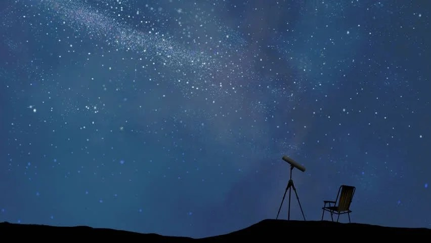Stylized Night Sky With Shooting Stars And A Telescope And